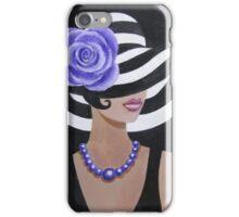 Lady in a striped hat iPhone Case/Skin