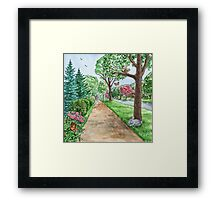 Landscape With Rabbit Squirrel and Butterflies Framed Print