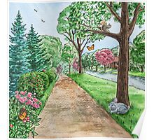 Landscape With Rabbit Squirrel and Butterflies Poster