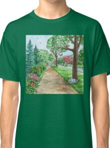 Landscape With Rabbit Squirrel and Butterflies Classic T-Shirt