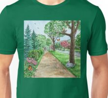 Landscape With Rabbit Squirrel and Butterflies Unisex T-Shirt