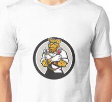 Leopard Heating Specialist Mechanic Circle Cartoon Unisex T-Shirt