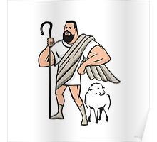 Superhero Shepherd Sheep Standing Cartoon Poster