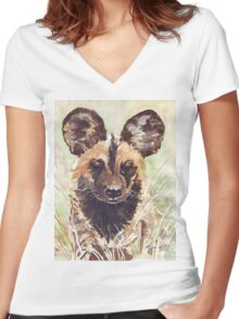African Wild Dog Women's Fitted V-Neck T-Shirt
