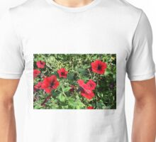Red flowers and green leaves natural background. Unisex T-Shirt