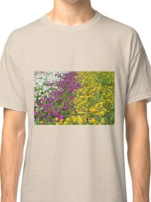 Colorful stripes of flowers in the park. Classic T-Shirt