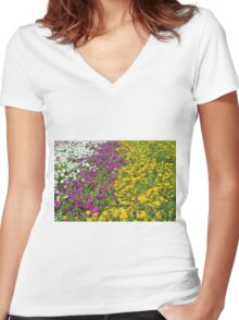 Colorful stripes of flowers in the park. Women's Fitted V-Neck T-Shirt