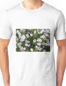 Beautiful pale purple flowers in the garden. Unisex T-Shirt