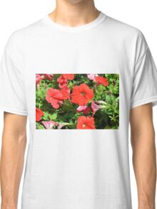 Beautiful red flowers in the garden. Classic T-Shirt