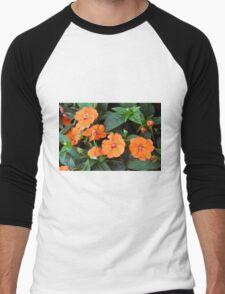 Orange flowers and green leaves. Men's Baseball ¾ T-Shirt
