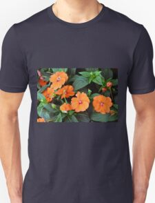 Orange flowers and green leaves. T-Shirt