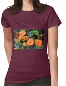 Orange flowers and green leaves. Womens Fitted T-Shirt