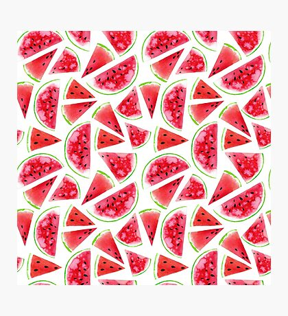 Watercolor watermelon slices  Photographic Print