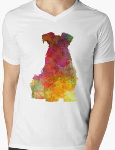 Schnauzer 02 in watercolor Mens V-Neck T-Shirt