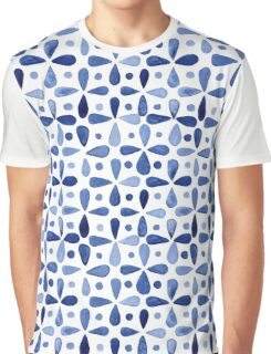 Imperfect Geometry Blue Petal Grid Graphic T-Shirt