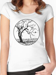 After the Storm Pen and Ink Drawing - Transparent Background.  Women's Fitted Scoop T-Shirt