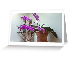 Bathroom Orchids Greeting Card