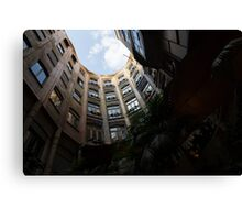A Courtyard Curved Like a Hug - Antoni Gaudi's Casa Mila, Barcelona, Spain Canvas Print