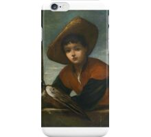 Willem Drost  radius Portrait of a boy with a falcon front of a balustrade iPhone Case/Skin