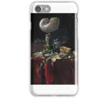 Willem van Aelst, STILL LIFE WITH FISH, BREAD, AND A NAUTILUS CUP iPhone Case/Skin