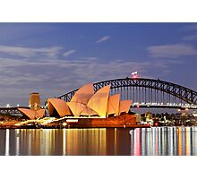 Sydney Opera House and Harbour Bridge at Dawn Photographic Print