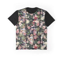 Floral and Pin Up Girls Pattern Graphic T-Shirt