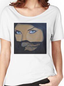 arabian muslim bride deep eyes eyed sexy blue black lace Women's Relaxed Fit T-Shirt