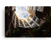 A Courtyard Shaped Like a Hug - Antoni Gaudi's La Pedrera or Casa Mila in Barcelona, Spain Canvas Print
