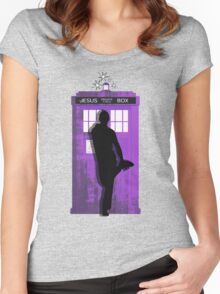 The Jesus private call box Tardis Women's Fitted Scoop T-Shirt