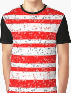 Red White Stripe Patchy Marble Pattern Graphic T-Shirt