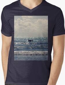 Couple swimming in the Moonlight Mens V-Neck T-Shirt