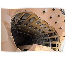 The Lost Straw Hat - Antoni Gaudi La Pedrera Courtyard From Above - Horizontal Poster