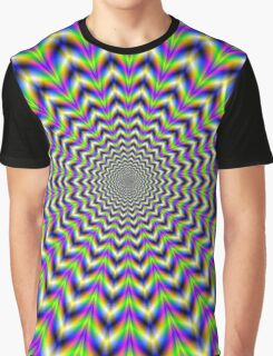 Psychedelic Star in Yellow Pink Blue and Green Graphic T-Shirt
