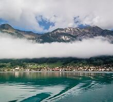 Lake Brienz, Mountains and Low Cloud by Sue Martin