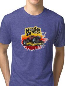 Cartoon Monster Truck Tri-blend T-Shirt