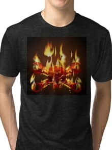 Metal Jolly Roger in flame Tri-blend T-Shirt