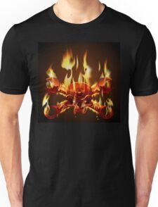 Metal Jolly Roger in flame Unisex T-Shirt