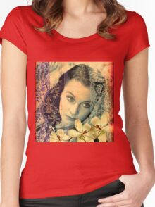 Scarlett Leigh with Magnolias from Tara Women's Fitted Scoop T-Shirt