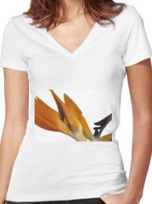 Bird of Paradise Macro Women's Fitted V-Neck T-Shirt