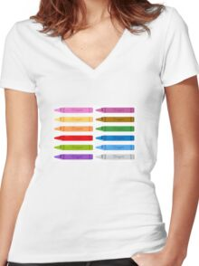 Beautiful colorful Pencils  Women's Fitted V-Neck T-Shirt
