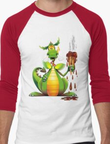 Fun Dragon Cartoon with melted Ice Cream Men's Baseball ¾ T-Shirt