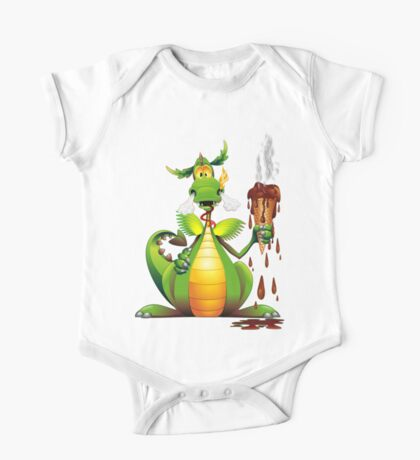 Fun Dragon Cartoon with melted Ice Cream One Piece - Short Sleeve