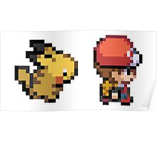 Red and Pikachu 16 bit Poster
