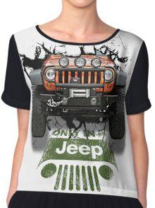 Jeep Breaking Wall 3D Art Chiffon Top