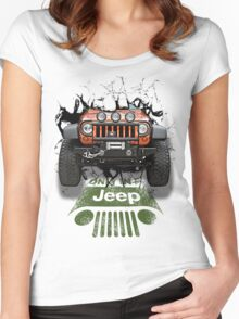Jeep Breaking Wall 3D Art Women's Fitted Scoop T-Shirt