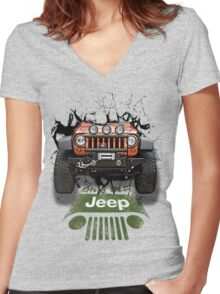 Jeep Breaking Wall 3D Art Women's Fitted V-Neck T-Shirt
