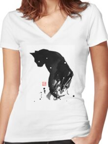 spot cat Women's Fitted V-Neck T-Shirt