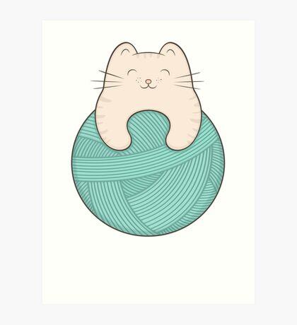 knit cat Art Print