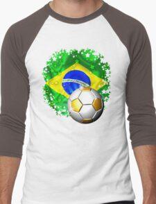Brazil Flag Gold Green and Soccer Ball Men's Baseball ¾ T-Shirt