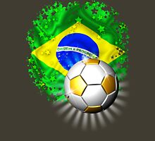 Brazil Flag Gold Green and Soccer Ball Unisex T-Shirt